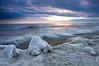OLP 016                    A winter sunrise on the Lake Michigan shore at Openlands Lakeshore Preserve, Fort Sheridan, Illinois.