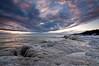 OLP 015                 A winter sunrise on the Lake Michigan shore at Openlands Lakeshore Preserve, Fort Sheridan, Illinois.