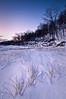 OLP 012                  A winter sunrise on the Lake Michigan shore at Openlands Lakeshore Preserve, Fort Sheridan, Illinois.