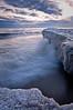 OLP 013                  A winter sunrise on the Lake Michigan shore at Openlands Lakeshore Preserve, Fort Sheridan, Illinois.