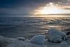 OLP 018                      A winter sunrise on the Lake Michigan shore at Openlands Lakeshore Preserve, Fort Sheridan, Illinois.