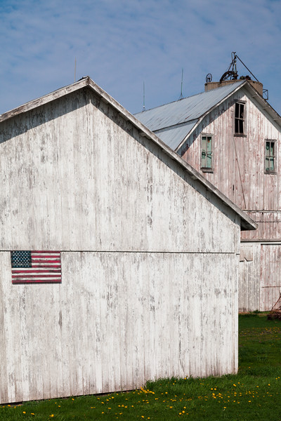 The American flag decorates the side of a white sided barn. Danway, IL<br /> <br /> IL-090426-0019