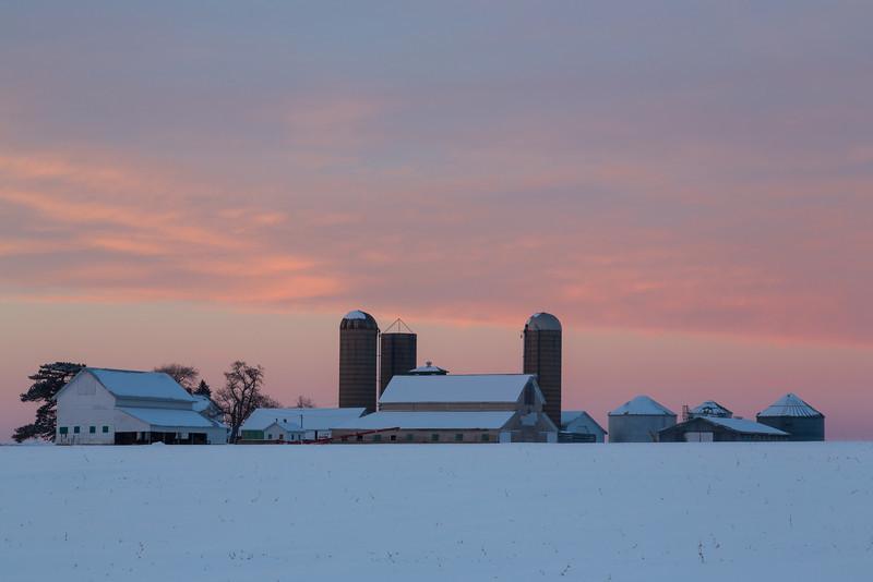 Farm Winter Sunset