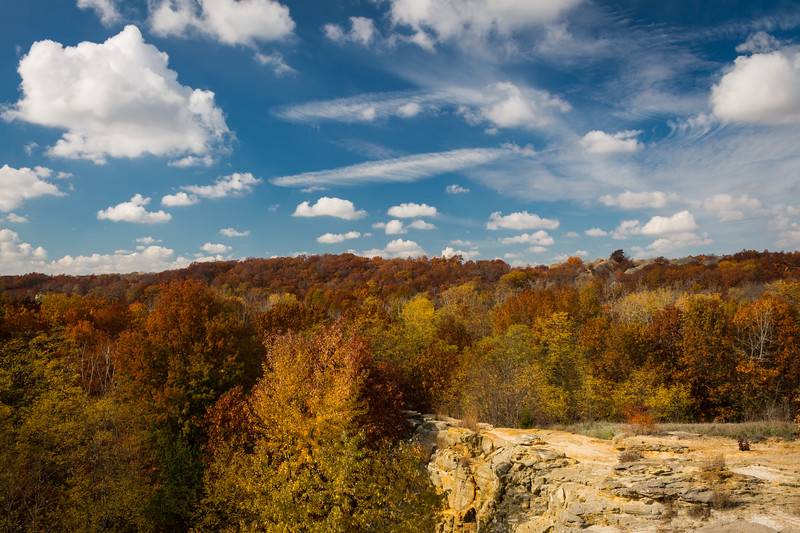 A short hike from the Buffalo Rock State Park parking lot provides a treetop view of the Illinois River valley in its Autumn splendor. Lasalle County, IL<br /> <br /> IL-121020-0112