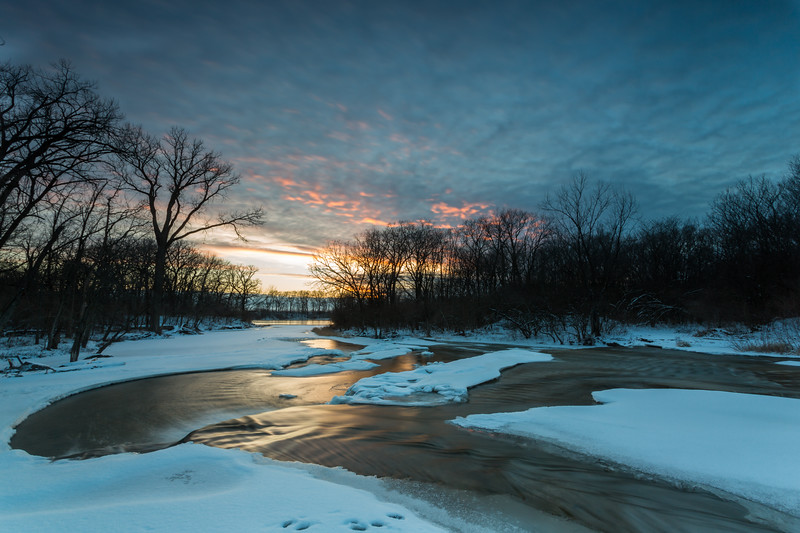 As sunset approaches, the sky over the Kankakee River starts turning. Wilmington, IL<br /> <br /> IL-130203-0036