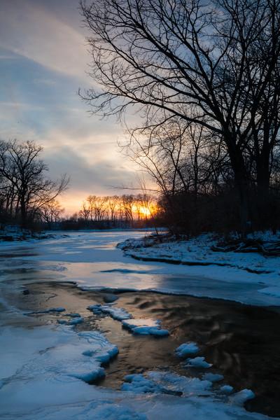 Winter sunst over Prairie Creek. Wilminton, IL<br /> <br /> IL-110121-0050