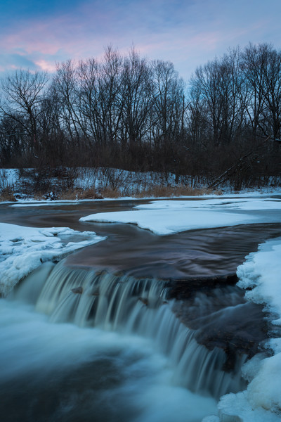 The last vestiges of the sunset sky glow Prairie Creek. Wilmington, IL<br /> <br /> IL-130203-0044