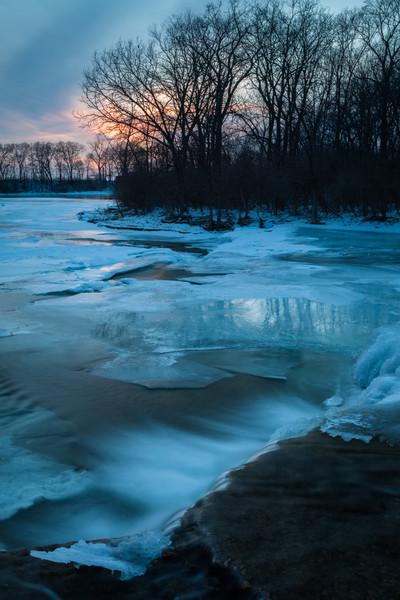 Prairie Creek turns blue as dusk approaches. Wilmington, IL<br /> <br /> IL-110121-0058