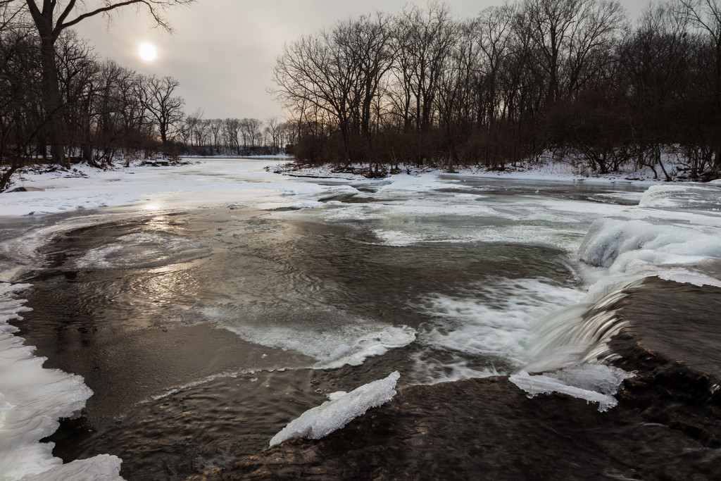 Warm temperatures have allowed the water of Prairie Creek to remove the snow blanket early in January. Wilmington, IL<br /> <br /> IL-110121-0001