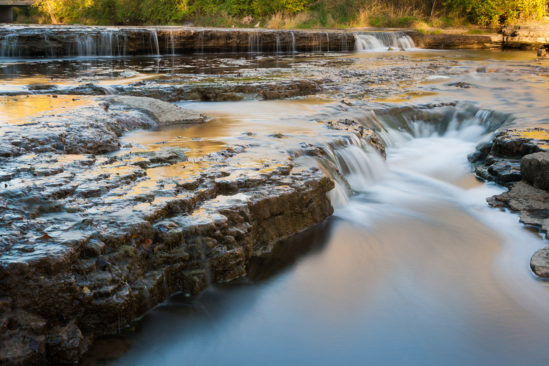 Fall color reflects on the flowing water of Prairie Creek. Wilmington, IL<br /> <br /> IL-071020-0033