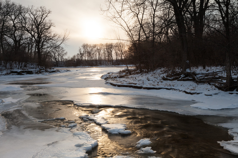 Warm temperatures have allowed the water of Prairie Creek to remove the snow blanket early in January. Wilmington, IL<br /> <br /> IL-110121-0014