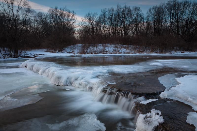 Prairie Creek waterfall in winter. Wilminton, IL<br /> <br /> IL-110121-0052