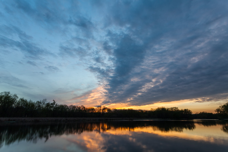 Sunset clouds reflect on mirror like DuPage River. This portion of the river flows between lock 6 and 7 of the I&M Canal. Channahon, IL<br /> <br /> IL-120329-0012