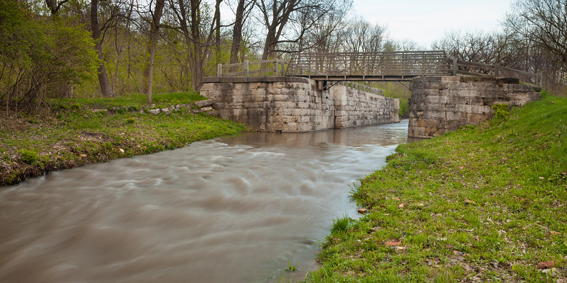 Water rushes through Lock 12 of the I&M Canal. Ottawa, IL<br /> <br /> IL-110323-0091