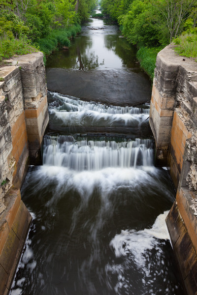 Water rushes into Lock 3 of the I&M Canal. Joliet, IL<br /> <br /> IL-110521-0051