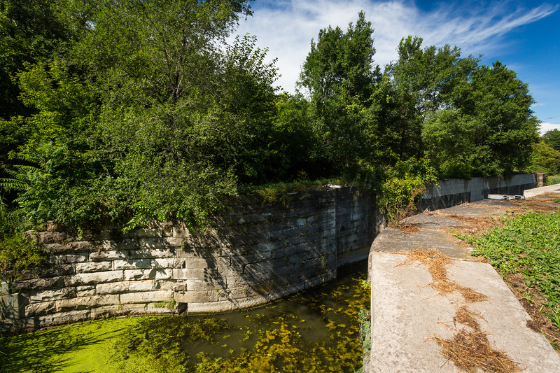 Lock 11 is just outside Ottawa. A trickle of water still flows through this part of the canal. Ottawa, IL<br /> <br /> IL-150810-0138