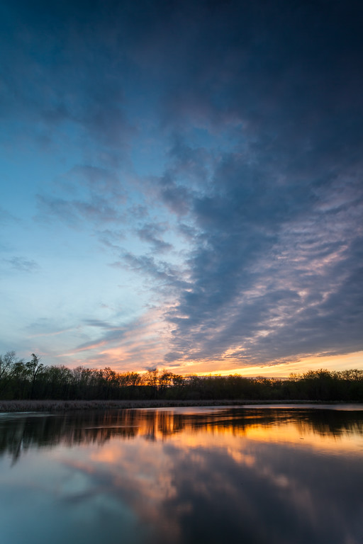 Sunset clouds reflect on mirror like DuPage River. This portion of the river flows between lock 6 and 7 of the I&M Canal. Channahon, IL<br /> <br /> IL-120329-0016