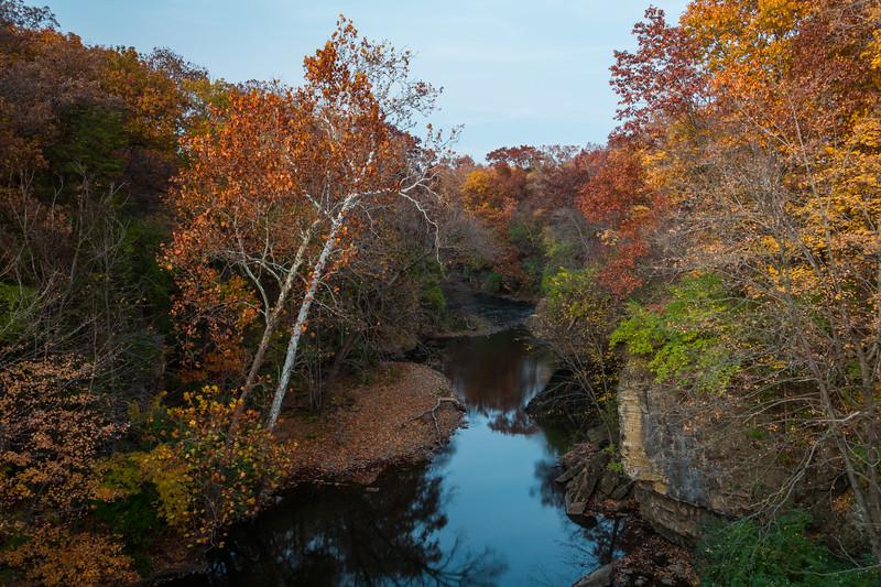 Dusk settles over Rock Creek on a mid-autumn day. Bourbonnais, IL<br /> <br /> IL-141026-0068