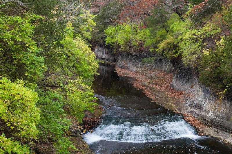Rock Creek waterfall in Autumn. Bourbonnais, IL<br /> <br /> IL-111030-0112