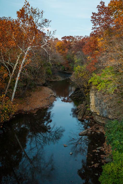 Dusk settles over Rock Creek on a mid-autumn day. Bourbonnais, IL<br /> <br /> IL-141026-0075
