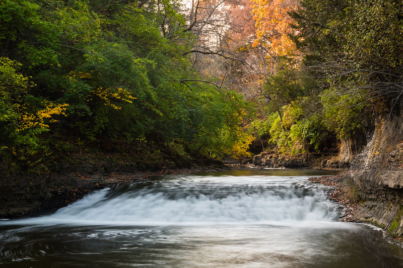 Early fall color near the Rock Creek waterfall. Bourbonnais, IL<br /> <br /> IL-141026-0043