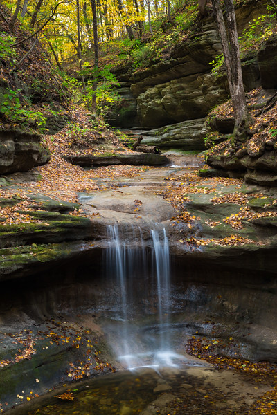 A small waterfall runs after a few days of heavy rain. Lasalle County, IL<br /> <br /> IL-171025-0133