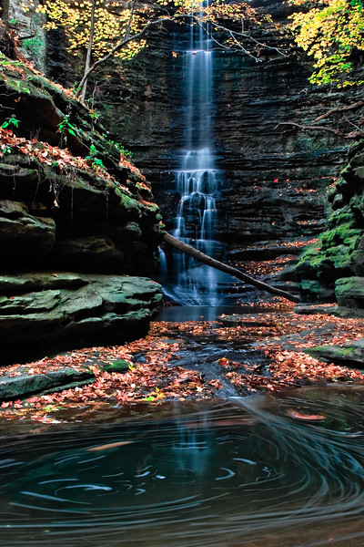 A whirlpool forms on one of the basins on the Upper Dells in Matthiessen State Park. Lasalle County, IL<br /> <br /> IL-071026-0232