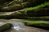 A small cascade flows against the canyon wall of Matthiessen State Park. Lasalle County, IL<br /> <br /> IL-160604-0057