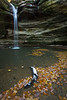 Ottawa Canyon waterfall and fallen oak leafs. Lasalle Canyon, IL<br /> <br /> IL-191101-0078