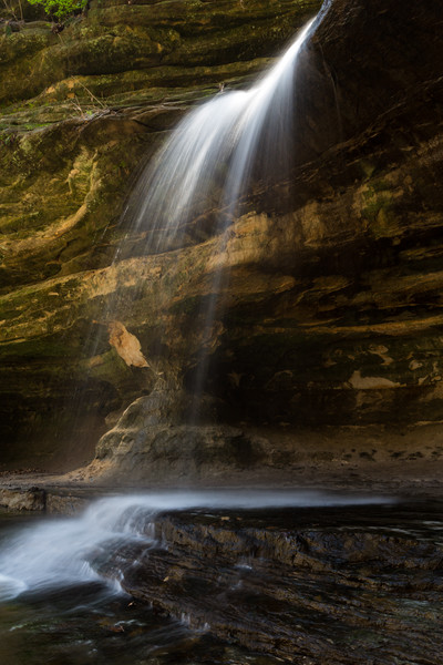 The highlights the waterfall of Lasall Canyon. Lasalle County, IL<br /> <br /> IL-140503-0042