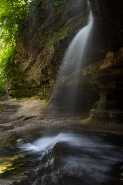 Long view of the Lasalle Canyon as seen from the waterfall. Lasalle County, IL<br /> <br /> IL-140517-0153