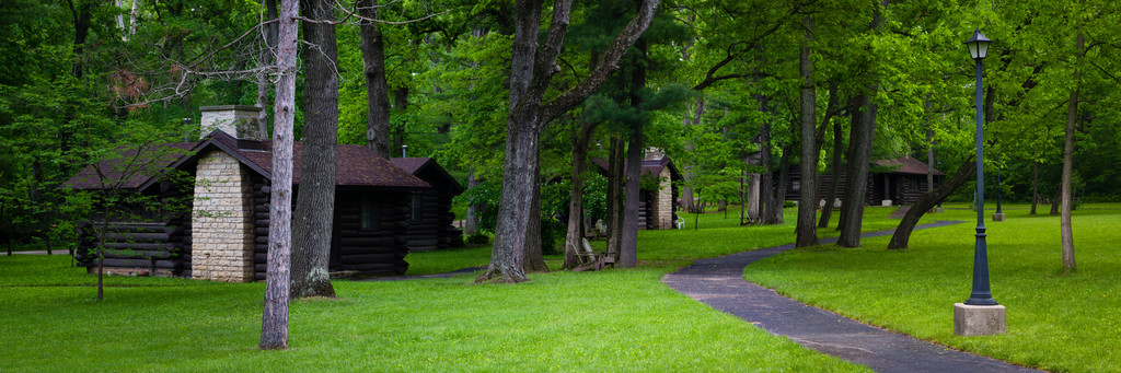 Cabins, built by the Civilian Conservation Corps, stand in the shadow of the White PInes State Forest. Mt. Morris, IL<br /> <br /> IL-110528-0020