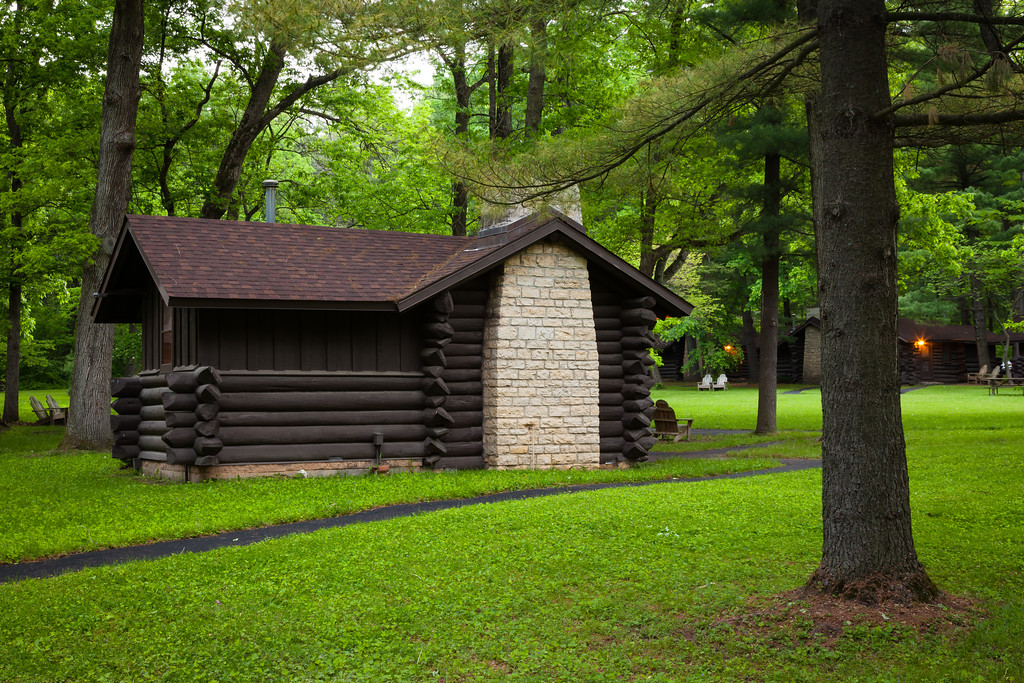 One of the many cabins built by the Civilian Conservation Corps in White Pines State Forest. Mt. Morris, IL<br /> <br /> IL-110527-0009