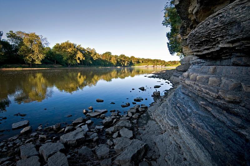 KR 002                       Sunrise on the Kankakee River, Kankakee River State Park, Illinois.