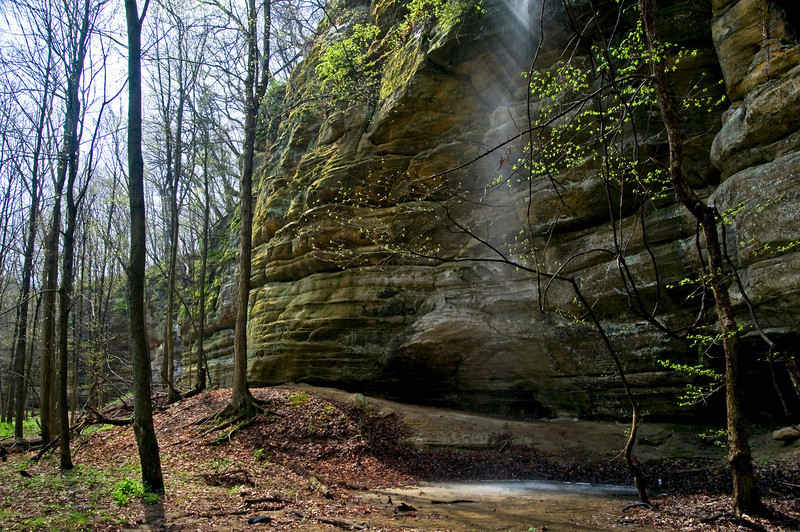SR 050                      Spring runoff forms a temporary waterfall in Illinois Canyon at Starved Rock State Park, Utica, Illinois.
