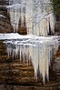SR 055                        Frozen icicles cling to the sandstone walls of LaSalle Canyon at Starved Rock State Park, Utica, Illinois.
