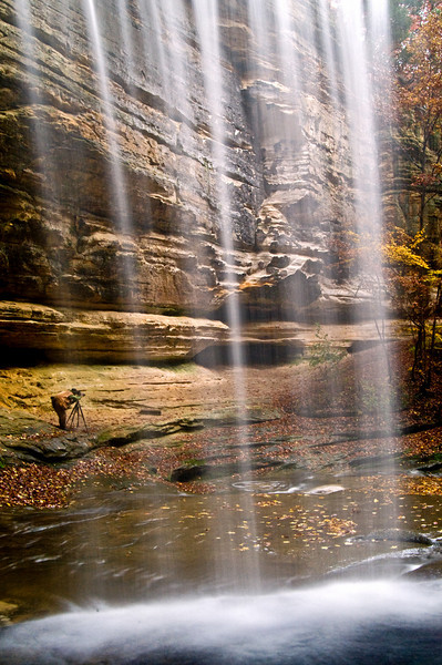 SR 018                    Looking out from behind the waterfall in LaSalle Canyon at Starved Rock State Park, Utica, Illinois.
