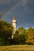 An incoming storm creates a rainbow over the Grosse Point Lighthouse. Evanston, IL  IL-081018-0129