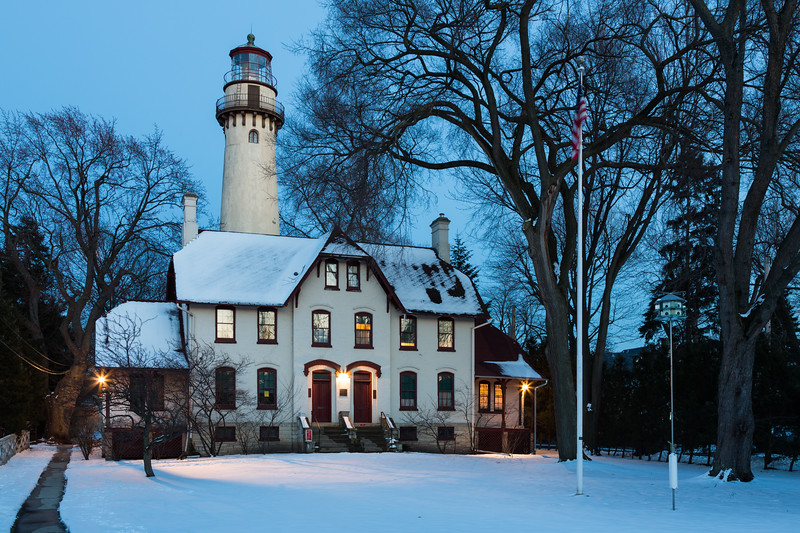 A peaceful winter evening at the Grosse Point Light Station. Evanston, IL  IL-130224-0003