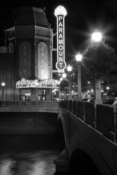 Paramount Theater in the City of Lights has been entertaining guests since the early 1930s. Aurora, IL<br /> <br /> IL-090919-0015-BW