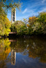 Moser Tower rises above the fall color along the banks of the DuPage River. Naperville, IL<br /> <br /> IL-111016-0094