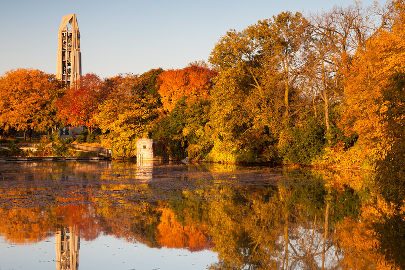 Fall color decorates the shore of Quarry Lake. Naperville, IL<br /> <br /> IL-111009-0027
