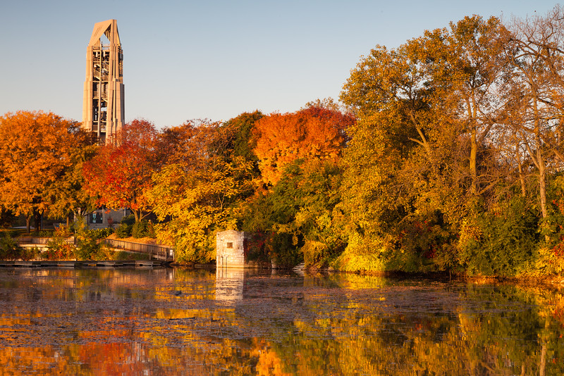 Fall color decorates the shore of Quarry Lake. Naperville, IL<br /> <br /> IL-111009-0024