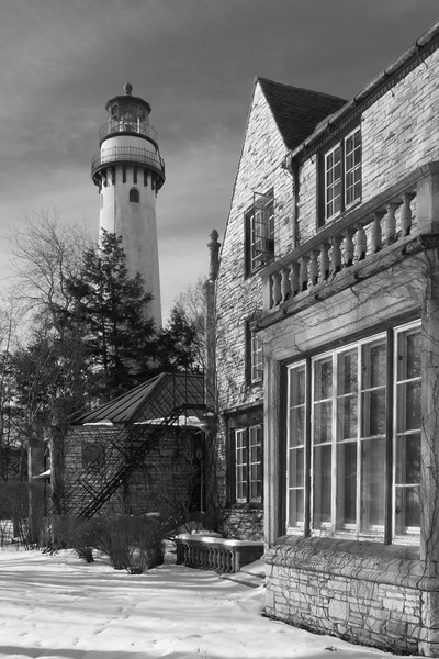 Winter scene along the Evanstons Arts Center and Grosse Point Lighthouse. Evanston, IL<br /> <br /> IL-080301-0107-BW