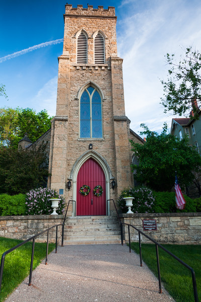 Early morning light shines on Grace Episcopal Church. Galena, IL<br /> <br /> IL-090525-0029