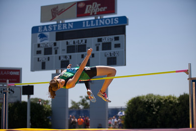 Rylee Anderson, Seneca sophomore, high jumps during the Class 1A Girls IHSA State Track and Field competition at the O'Brien Stadium on the campus of Eastern Illinois University in Charleston, Illinois on May 17, 2012. (Jay Grabiec)