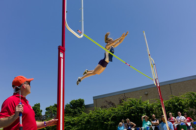 Morgan Mahnesmith, Kewanne junior, pole vaults during the Class 1A Girls IHSA State Track and Field competition at the O'Brien Stadium on the campus of Eastern Illinois University in Charleston, Illinois on May 17, 2012. (Jay Grabiec)