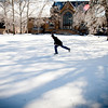 Junior biological sciences major with teachers certificate Peter Fagan ice skates on the Library Quad on the campus of Eastern Illinois University in Charleston, Illinois on Thursday, February 2, 2011.  Fagan welcomes the icy weather which cancelled classes Tuesday and Wednesday because it gives him the opportunity to take out the skates.  (Jay Grabiec)