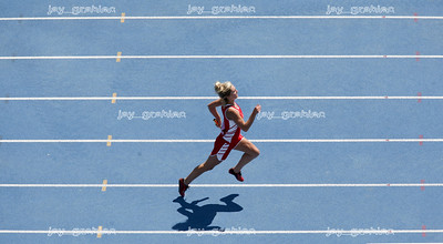 Sophomore Genni Hickey of West Frankfort High School approaches the finish line during the IHSA State track meet at O'Brien stadium in Charleston, Illinois on Friday , May 16, 2008. (Jay Grabiec/Staff Photographer)