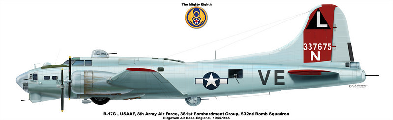 B-17G, USAAF,8th Army Air Force<br /> 381st BG, 532nd Bomb Squadron